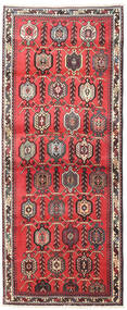 Afshar/Sirjan Vloerkleed 100X250 Echt Oosters Handgeknoopt Tapijtloper Donkerrood/Donkerbruin (Wol, Perzië/Iran)
