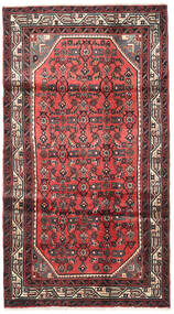 Hosseinabad Rug 103X190 Authentic  Oriental Handknotted Rust Red/Black (Wool, Persia/Iran)