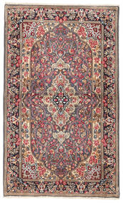 Kerman Teppich 87X140 Echter Orientalischer Handgeknüpfter Hellbraun/Dunkelrot (Wolle, Persien/Iran)