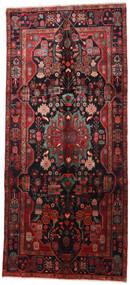 Nahavand Teppich 160X360 Echter Orientalischer Handgeknüpfter Läufer Dunkelrot/Schwartz (Wolle, Persien/Iran)