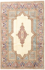 Kerman Rug 200X303 Authentic  Oriental Handknotted Beige/Dark Brown (Wool, Persia/Iran)