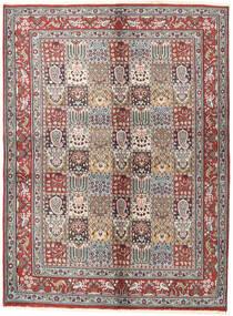 Moud Teppich 145X197 Echter Orientalischer Handgeknüpfter Hellbraun/Beige (Wolle/Seide, Persien/Iran)