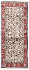 Moud Teppich 80X193 Echter Orientalischer Handgeknüpfter Läufer Beige/Dunkelbraun (Wolle/Seide, Persien/Iran)