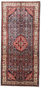 Hamadan Rug 147X320 Authentic  Oriental Handknotted Hallway Runner  Dark Brown/Beige (Wool, Persia/Iran)