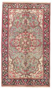Kerman Teppich  90X155 Echter Orientalischer Handgeknüpfter Braun/Hellgrau (Wolle, Persien/Iran)