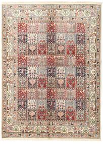 Moud Tapis 145X200 D'orient Fait Main Gris Clair/Marron Clair (Laine/Soie, Perse/Iran)