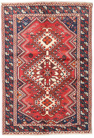 Shiraz Rug 135X195 Authentic  Oriental Handknotted Rust Red/Black (Wool, Persia/Iran)
