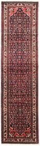 Hosseinabad Matta 85X330 Äkta Orientalisk Handknuten Hallmatta Mörkröd/Svart (Ull, Persien/Iran)