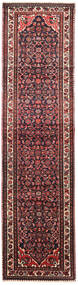 Hosseinabad Rug 85X330 Authentic  Oriental Handknotted Hallway Runner  Dark Red/Black (Wool, Persia/Iran)