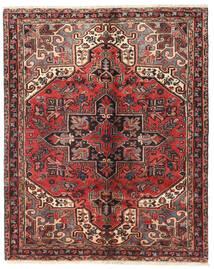 Heriz Vloerkleed 135X166 Echt Oosters Handgeknoopt Donkerbruin/Donkerrood/Roestkleur (Wol, Perzië/Iran)