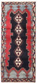 Afshar/Sirjan Vloerkleed 90X200 Echt Oosters Handgeknoopt Tapijtloper Zwart/Donkerrood (Wol, Perzië/Iran)