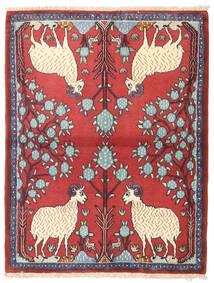 Hamadán Szőnyeg 98X126 Keleti Csomózású Bézs/Rozsdaszín (Gyapjú, Perzsia/Irán)