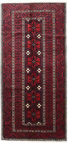 Beluch Teppe 144X298 Ekte Orientalsk Håndknyttet Svart/Mørk Rød (Ull, Persia/Iran)