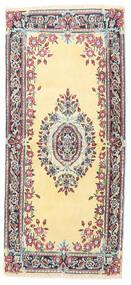 Kerman Matta 60X130 Äkta Orientalisk Handknuten Beige/Mörkgrå (Ull, Persien/Iran)