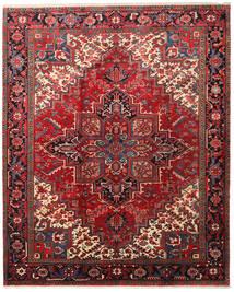 Heriz Matta 226X279 Äkta Orientalisk Handknuten Mörkröd/Mörkbrun (Ull, Persien/Iran)