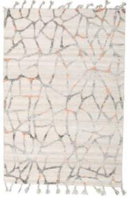 Pet Yarn Kelim Teppich  160X234 Echter Moderner Handgewebter Hellgrau/Weiß/Creme ( Indien)