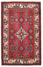 Hamadan Rug 70X110 Authentic  Oriental Handknotted Crimson Red/Black (Wool, Persia/Iran)