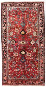 Nahavand Rug 143X273 Authentic  Oriental Handknotted Dark Red/Dark Brown/Rust Red (Wool, Persia/Iran)