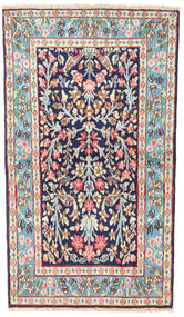 Kerman Matto 77X136 Itämainen Käsinsolmittu Vaaleanharmaa/Tummanvioletti (Villa, Persia/Iran)