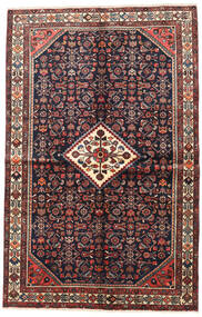 Hosseinabad Rug 150X230 Authentic  Oriental Handknotted Dark Blue/Dark Red (Wool, Persia/Iran)