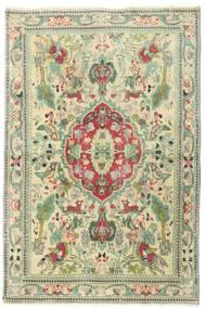 Täbriz Patina Teppich 97X144 Echter Orientalischer Handgeknüpfter Beige/Hell Grün (Wolle, Persien/Iran)