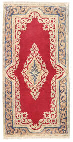 Kerman Rug 58X115 Authentic  Oriental Handknotted Beige/Crimson Red (Wool, Persia/Iran)