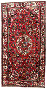 Hamadan Rug 165X308 Authentic  Oriental Handknotted Hallway Runner  Dark Red/Black (Wool, Persia/Iran)