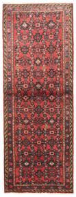 Hosseinabad Matta 75X195 Äkta Orientalisk Handknuten Hallmatta Mörkröd/Mörkbrun (Ull, Persien/Iran)