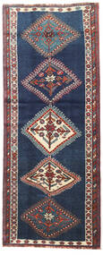Shiraz Rug 103X257 Authentic  Oriental Handknotted Hallway Runner  Dark Blue/Dark Grey (Wool, Persia/Iran)
