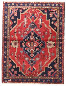 Nahavand Koberec 110X146 Orientální Ručně Tkaný Červenožlutá/Tmavě Fialová (Vlna, Persie/Írán)