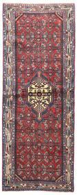Hosseinabad Teppich  80X207 Echter Orientalischer Handgeknüpfter Läufer Dunkelbraun/Dunkellila (Wolle, Persien/Iran)