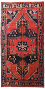 Hamadan Rug 160X313 Authentic  Oriental Handknotted Hallway Runner  Dark Red/Black (Wool, Persia/Iran)