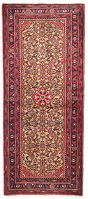 Hosseinabad Vloerkleed 80X190 Echt Oosters Handgeknoopt Tapijtloper Donkerbruin/Donkerrood/Roestkleur (Wol, Perzië/Iran)