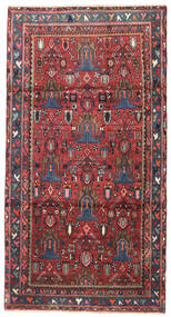 Nahavand Rug 108X200 Authentic  Oriental Handknotted Dark Red/Dark Purple (Wool, Persia/Iran)