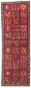 Tabriz Patina Rug 93X270 Authentic  Oriental Handknotted Hallway Runner  Crimson Red/Dark Brown (Wool, Persia/Iran)