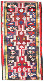 Kelim Fars Matto 190X360 Itämainen Käsinkudottu Musta/Vaaleanpunainen (Villa, Persia/Iran)