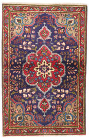 Tabriz Teppe 93X147 Ekte Orientalsk Håndknyttet Svart/Mørk Rød (Ull, Persia/Iran)
