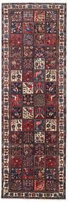 バクティアリ 絨毯 110X336 オリエンタル 手織り 廊下 カーペット 濃い茶色/薄い灰色 (ウール, ペルシャ/イラン)