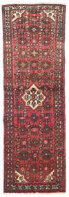 Hosseinabad Matta 65X197 Äkta Orientalisk Handknuten Hallmatta Mörkröd/Mörkbrun (Ull, Persien/Iran)