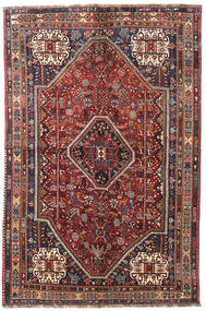 Shiraz Rug 146X220 Authentic  Oriental Handknotted Dark Red/Beige (Wool, Persia/Iran)
