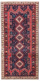 Afshar/Sirjan Teppich  97X200 Echter Orientalischer Handgeknüpfter Dunkellila/Dunkelrot (Wolle, Persien/Iran)