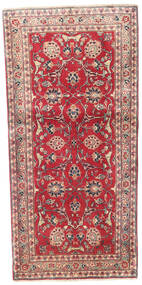 Kashmar Rug 88X185 Authentic  Oriental Handknotted Hallway Runner  Crimson Red/Dark Brown (Wool, Persia/Iran)