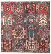 Bakhtiar Matta 131X135 Äkta Orientalisk Handknuten Kvadratisk Mörkbrun/Mörkröd (Ull, Persien/Iran)