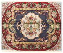 Tabriz Tæppe 80X100 Ægte Orientalsk Håndknyttet Mørkegrå/Mørkerød (Uld, Persien/Iran)
