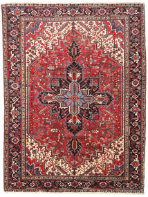 Heriz Matta 245X325 Äkta Orientalisk Handknuten Mörkbrun/Mörkröd (Ull, Persien/Iran)