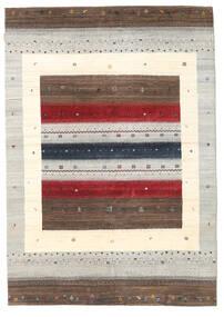 ギャッベ Loribaft 絨毯 170X240 モダン 手織り 薄い灰色/深紅色の/ベージュ (ウール, インド)