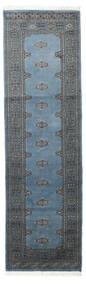 Pakistan Bokhara 2Ply Rug 78X260 Authentic  Oriental Handknotted Hallway Runner  Blue/Dark Grey (Wool, Pakistan)