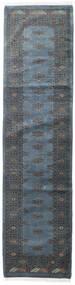 Pakistan Bokhara 3Ply Matta 79X313 Äkta Orientalisk Handknuten Hallmatta Mörkgrå/Blå/Mörkblå (Ull, Pakistan)