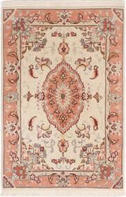 タブリーズ 50 Raj シルク製 絨毯 60X92 オリエンタル 手織り ベージュ/濃い茶色 (ウール/絹, ペルシャ/イラン)