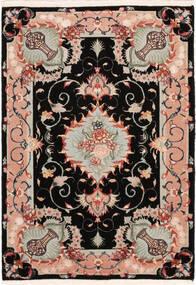 タブリーズ 50 Raj シルク製 絨毯 67X95 オリエンタル 手織り 黒/薄い灰色 (ウール/絹, ペルシャ/イラン)